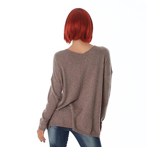 JELA London Damen Pullover im Oversize Stil, coole Sticker vernäht, bequemer Sitz mit V-Ausschnitt 36-42 Brown