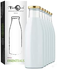 Favola Milk, Water And Juice Glass Bottle With Air Tight Cap - 1000 Ml (Set Of 6) - Transparent - Cfavcolbot08