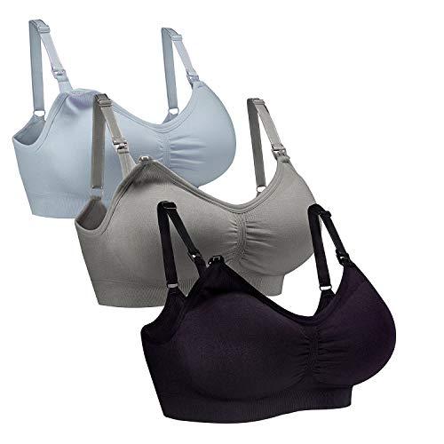 Whifan 3pack reggiseno sllattamento senza cuciture reggiseno allattamento nursing bra push up bra allattamento maternità (xl, 3pack(black+gray+sky blue))