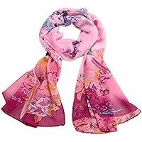 YsTmS Frauen-Chiffon- Schal-Damen-Vogel-Blumen Druckten Weichen Schal-Art- und Weisedünne Schals stahlen Wraps