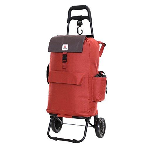 Karabar Völlig Isoliert Einkaufstrolley Einkaufswagen Trolley mit Schulterriemen und Zwei Räder - 55 cm 32 Liter 2,3 kg, Halden Rot