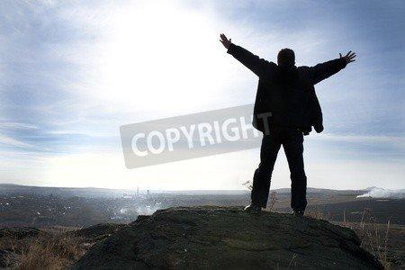 "Leinwand-Bild 60 x 40 cm: ""Adoration of heaven. Silhouette of the man with hands upwards, on a sunset"", Bild auf Leinwand"