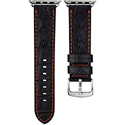 Geckota® Alligator & Lizard Rally Leather Watch Strap Black with Burnt Orange Stitching for Apple Watch 38mm