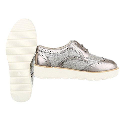Schnürer Damenschuhe Oxford Schnürer Schnürsenkel Ital-Design Halbschuhe Silber Bronze 62016