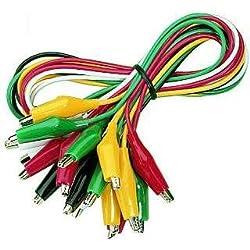 McCheck GT-1810 Lot de 10 câbles à pince crocodile longueur de câble 50 cm