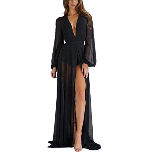 Homebaby® copricostume mare cardigan kimono elegante donna chiffon - sexy loose vestito lungo estate-vintage estivo scialle boho tunica etnica abito da spiaggia (m, nero)