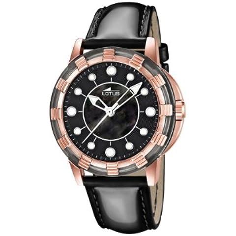 Lotus 15860/2 - Reloj analógico de cuarzo para mujer con correa de piel, color negro