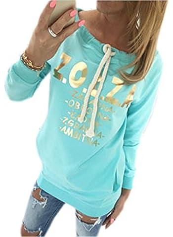COCO clothing Damen Frühjahr Herbst Golden Alphabet Printed Top Tunnelzug Sweatshirt Street Langarm T-Shirt Freizeit Pulli Jumper Rundausschnitt Pullover Mit Kängurutasche (L, Türkis)
