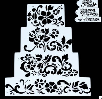 4 Stencil Icing Back-Schablone Filigran Blumen Air Brush Kuchen Torte Deko Fondant Keks STS16