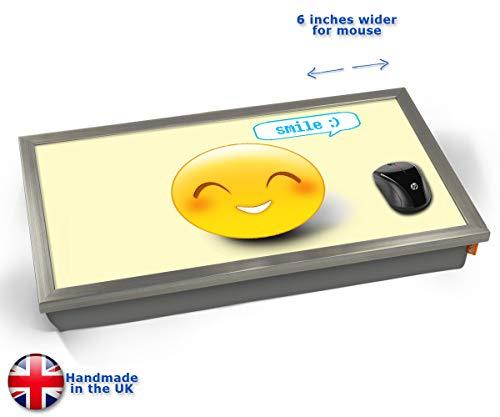 Smile Emoticon Emoji Cushioned Bean Bag Laptop Lap Tray Desk - Built-in EMF Shield (Electro Magnetic...