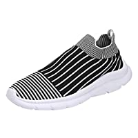 Men Summer Flats Casual Shoes, Male Striped Printed Outdoor Lightweight Sneakers Sport Shoes