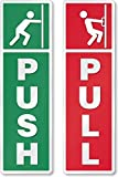 #4: Fusion Graphix Self Adhesive Push And Pull Sign Stickers Green - Pack Of 4 (5cm X 15cm)