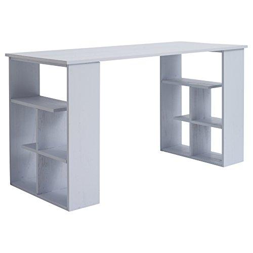Mobili Rebecca® Bureau Informatique Table de l'ordinateur avec Etagères en Bois Blanc Moderne Bureau Maison (Cod. RE4810)