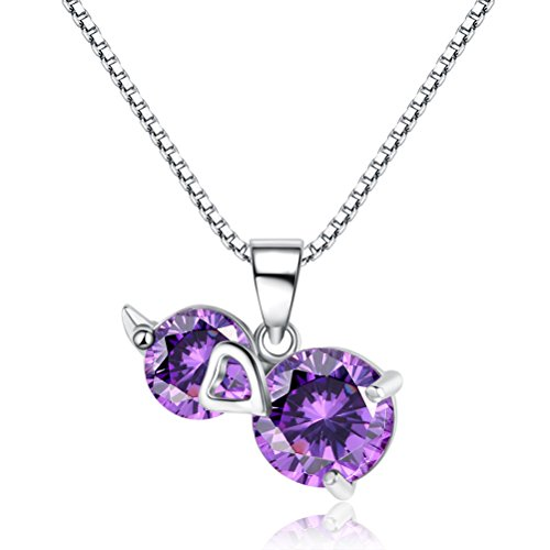 Jazlyn - Necklace with Bright Amethyst Pendant, White Gold Plated and Sterling Silver 925 with Purple Zirconia Crystals for Woman and Bride