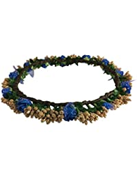 Loops N Knots Blue & Gold Princess Collection Floral Tiara/ Crown/ Headband For Girls & Women (Hair Accessory)