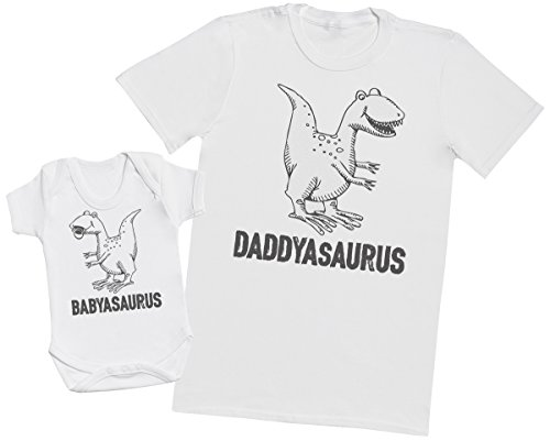 daddysaurus-babysaurus-matching-father-baby-gift-set-mens-t-shirt-baby-bodysuit-white-large-0-3-mont