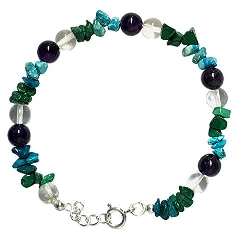 WCJ Chakra Healing Power Bracelet for EPILEPSY :Top Quality 100% Genuine Natural Gemstones, Balancing Reiki-Yoga-Meditation Crystal Healing: Unisex. Adjustable.