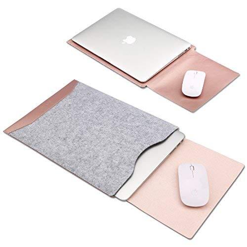 GENORTH® Filz Sleeve Hülle Ultrabook Laptop Tasche für New MacBook Pro 13 Zoll A1706 & A1708 Hülle mit Geschütztes Inneres und Externes Mousepad (Macbook pro 13 zoll mit Multi-Touch Bar, Rose Gold)