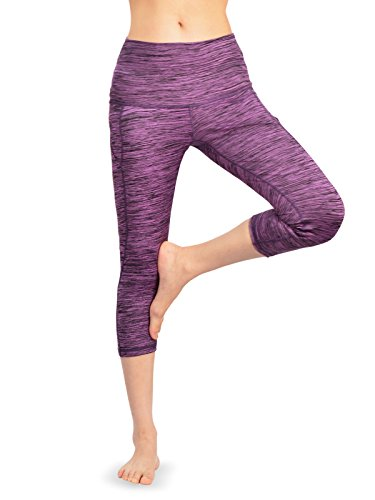Comfort Capris (FFMC mit hoher Taille Yoga Capri Leggings mit seitlichen Taschen, 4-Wege Stretch | Tummy Control | Training & Laufen | Comfort Fit (Heather Purple in 4 Größen) (Extra Large))