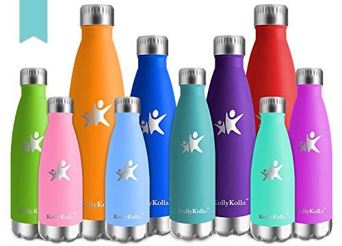 Kollykolla bottiglia acqua in acciaio inox, 500ml senza bpa borraccia termica, isolamento sottovuoto a doppia parete, borracce per bambini, scuola, sport, all'aperto, palestra, yoga, turchese