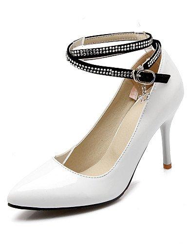 WSS 2016 Chaussures Femme-Bureau & Travail / Décontracté-Noir / Bleu / Rouge / Blanc-Talon Aiguille-Talons / Bout Pointu-Talons-Cuir Verni white-us6.5-7 / eu37 / uk4.5-5 / cn37
