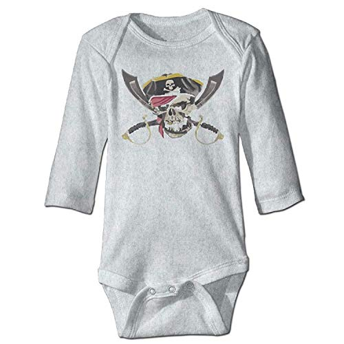 MSGDF Unisex Newborn Bodysuits Pirate Skull Crossed Swords Boys Babysuit Long Sleeve Jumpsuit Sunsuit Outfit Ash - Pirate Low Cut