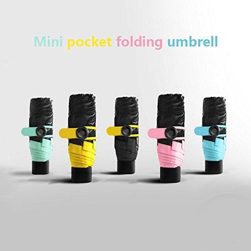 whx Pocket Regenschirm, Ultra Mini (6.7in), Reise kompakte leichte ultra-kleine Tasche Größe UV-Schutz Regenschirm winddichten Regenschirm (grün)
