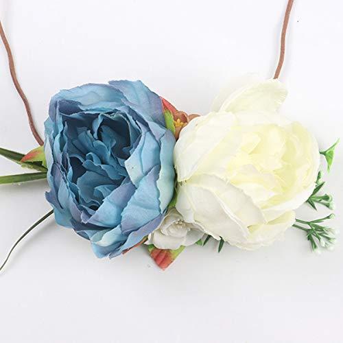 Topsale-ycld Infant Baby Kleinkind Kinder Lace-up Krawatte Stirnband Kinder Niedlich Haarschmuck Blume Headwear (Color : White+Blue)