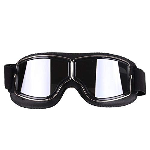 Aolvo Vintage Motorrad Goggles, HD Motorrad Glasses-Biker Motorrad Harley Motorrad UV-Schutzbrille Radfahren Sonnenbrille Cool Fahrrad Snowboard Winddicht Brille für Herren Schwarz/Silber