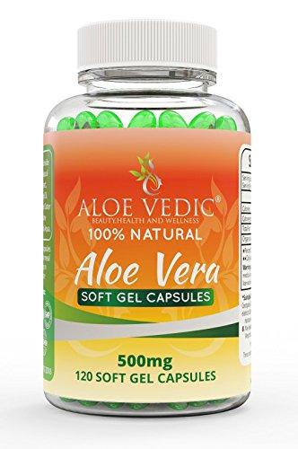100% Natural Aloe Vera Cápsulas Suplemento de 500 mg para la limpieza del colon Estomacal y problemas digestivos Tabletas para la desintoxicación Metabolismo para la pérdida de peso y cuidado facial