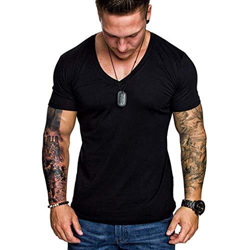 rren Sommer V-Ausschnitt beiläufige dünne Kurzarm T-Shirt Top Bluse Schwarz Grün Rot Blau Grau S M L XL XXL ()