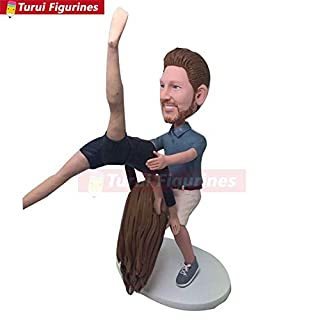 Acro Yoga Personalized Wedding Cake Topper Bobble Head Clay Figurines Based on Customers' Photos Yoga Wedding Gifts Birthday Cake Topper