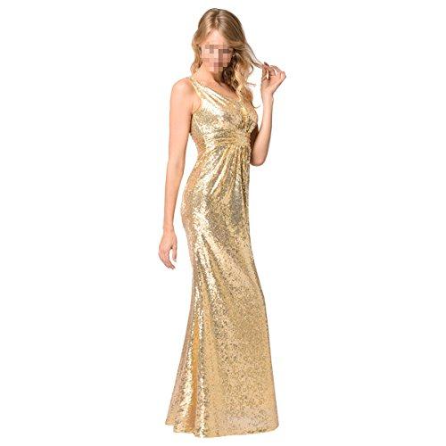 EALSN Frauen Pailletten Abend Party Kleider Sleeveless V-Ausschnitt Cocktail Lange Kleider,Gold-S - 4