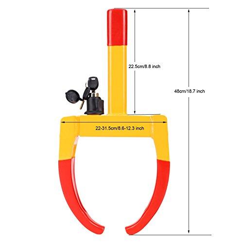 mymotto Radkralle Parkkralle Reifenkralle Wegfahrsperre Universal Inkl. 2 Schlüsseln gelb/rot