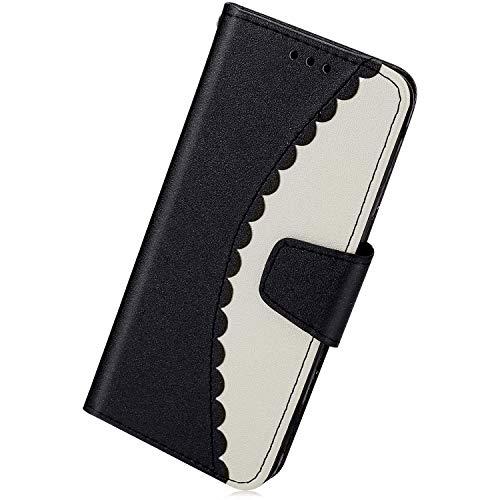 Kompatibel mit Handytasche Galaxy A8 2018 Leder Hülle Ledertasche Ultradünn Handy Hülle Mädchen Schön Luxus Flip Case Cover Klapphülle mit Kartenfächer Bookstyle Tasche,Schwarz + Weiß