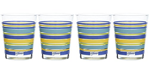 Fiesta 185-031 Lapis Collection Stripe Tapered Double Old Fashion Glass (Set of 4), 15 oz, Multicolor by Unknown -
