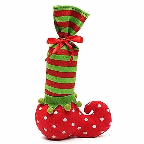 FUNDIY Christmas Elf Candy Bag Santa Candy Socks Pouch Elf Bottle Bag Wine bottle Gift Wrap Xtmas Tree Decor