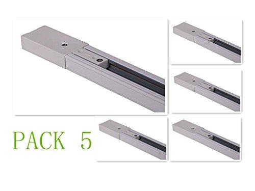 Carril Monofasico 2m Para Focos LED (Pack 5) Blanco Aluminio