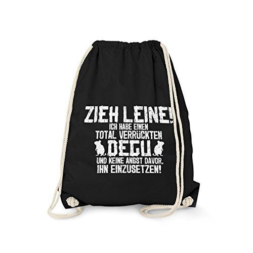 Fashionalarm Turnbeutel - Zieh Leine - verrückter Degu | Fun Rucksack mit lustigem Spruch für Nager Halter Züchter Haustier Besitzer, Farbe:schwarz