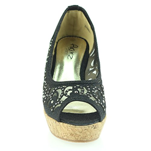 Frau Damen Abend Party Peeptoe Diamante Keilabsatz Sandale Schuhe Größe Schwarz