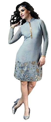 Clickedia Girl's & Women's Beautiful Embroidered Georgette Semi Stitched Grey Kurti  available at amazon for Rs.499