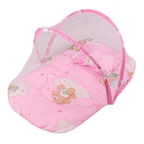 Culla portatile pieghevole lettino da viaggio bed baldacchino della tenda zanzariera con il cuscino (rosa)