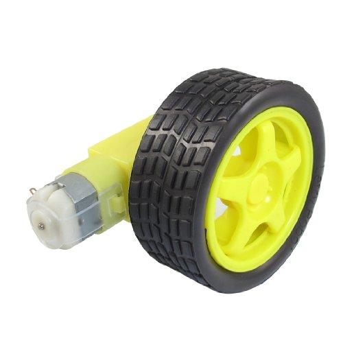 Gelb Schwarz Tire Rad + Single Schaft Geared Motor 15RPM 160mA 3V DC 3v Single