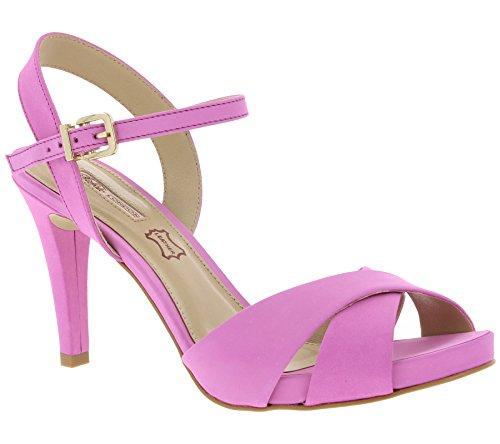 Buffalo Schuhe Offener Pumps Plateau Echtleder Fesselriemchen Pink, Größenauswahl:38