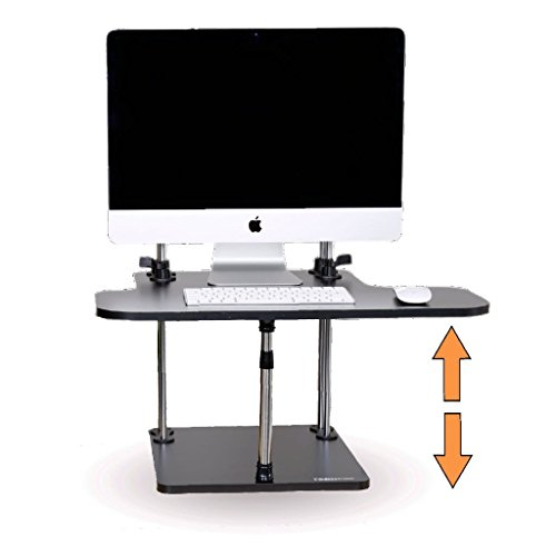 Adjustable Sit to Stand Standing Desk On Top Of Your Existing Desk SSD (Black Wood Finish) Instantly Convert Any Surface to a Stand Up Workstation