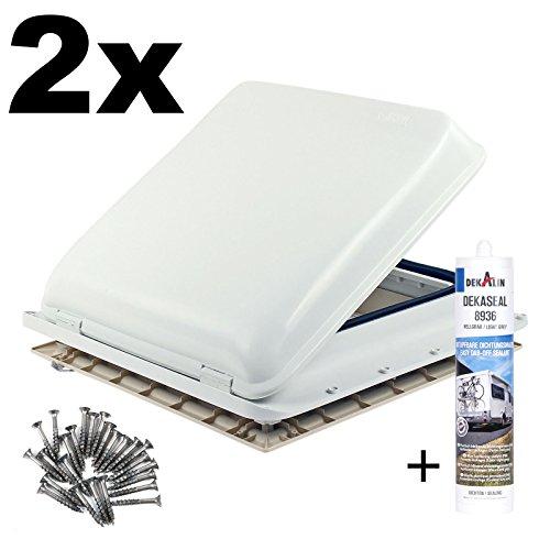 Fiamma 2X Dachfenster Vent 40x40 cm Weiß + Dekalin Dichmittel + Schrauben für Wohnwagen Oder Wohnmobil