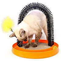 • RENZE Juguete del gato Purrfect gato de juguete Arco novio novio Auto Preparación del gato Auto Groomer y masajeador