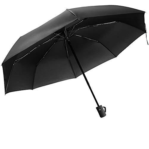 Paraguas automático Resistente al Viento Paraguas de Viaje Plegable con Apertura y Cierre automático Paraguas antiviento, Compacto y ligeroTejido (02-Mango Recto Negro)