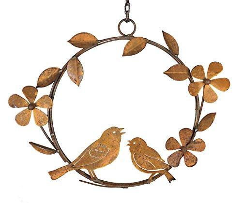 Crispe home & garden Vogelstation Kranz mit Vögeln in Edelrost aus Metall, naturbelassen 43 x 34 cm