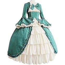 Ashui Robe de Tribunal Gothique Rétro Médiévale Robe Carrée à Col Montant et Nœud à La Taille Vintage Grande Taille Robe de Princesse Cosplay Costume Royal Robe